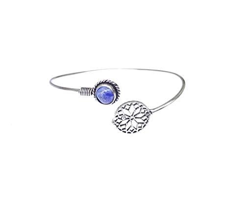 Pulsera de lapislázuli con Piedras Preciosas de Plata de Ley 925 chapada en Moda para Mujeres y niñas, Hecha a Mano, diseño único, Tribal, Bohemio, Brazalete de Indian Artisan