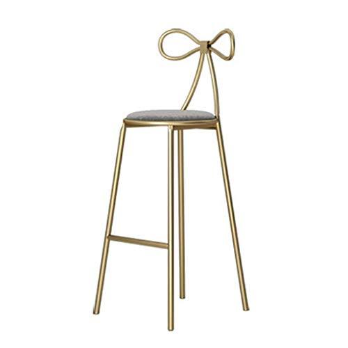 Bar Sgabello sedie sgabelli seggiola Arredamento r Pranzo con poggiapiedi Schienale in Velluto con Schienale in Vimini per Cucina da Ristorante Bar Cafe Counter (Color : Gray, Size : 65cm)