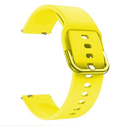 Correa de silicona compatible con Samsung Galaxy Watch 42 mm 46 mm Correa deportiva suave impermeable para Samsung Galaxy Watch 3 42 mm 45 mm (20 mm, amarillo)