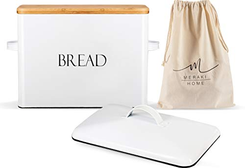 Bread Box for Kitchen Countertop - Metallic Lid - Bamboo Lid - Large Bread Storage 13'' x 9.5'' x 7'' Holds 2+ Loaves - Bread Bin Ventilation Holes - Vintage Bread Box - XLarge Organic Cotton Bag