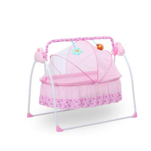 Electric Portable Baby Crib Baby Bouncer Adjustable Rocking Cot Foldable Baby Bassinet with Music Player, Portable Newborn Cradle for Infant Baby Boy & Girl (Pink)