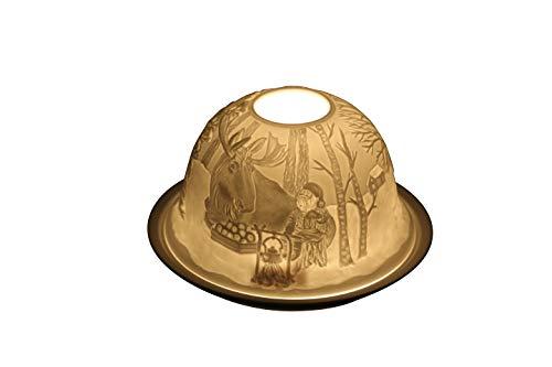 MC Trend Porzellan-Dome Light Windlicht Stimmungslicht weihnachtliche Motive Tisch-Deko Geschenk-Idee Teelichthalter ca. 12 x 7,5 cm (Elch)