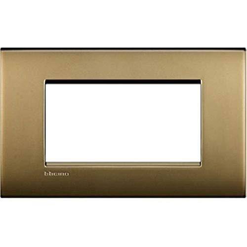 Bticino LNC4804OF Placca Livinglight Air 4 Moduli, Oro...