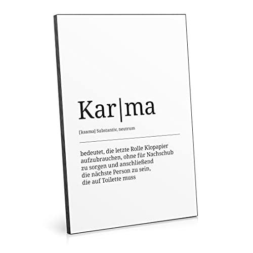ARTFAVES® Holzbild - Worterklärung / Definition: Karma (WC) | schwarz-weiss Deko Wandbild als Geschenk | Holzschild mit Spruch zum Thema Bad / Badezimmer / WC / Toilette /...