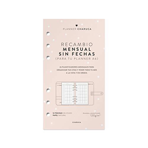 Recambio agenda mensual. A6. Sin fechas (CAP25) - 17.2 x 1 cm - 2019