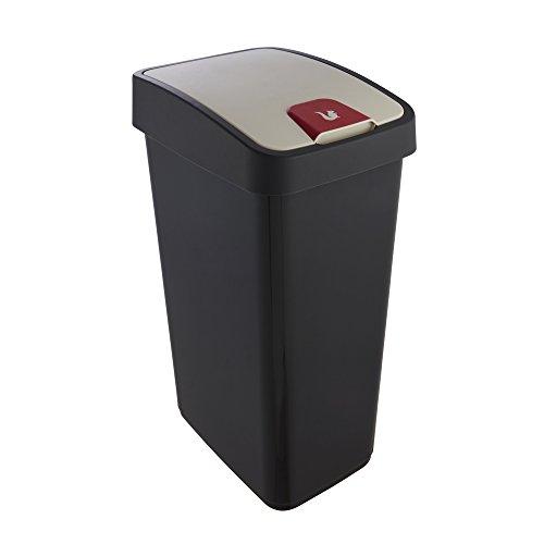 keeeper Premium Abfallbehälter mit Flip-Deckel, Soft Touch, 45 l, Magne, Graphit Grau