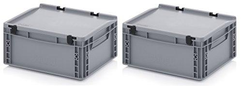 2x Eurobehälter 40 x 30 x 18,5 mit Scharnierdeckel inkl. gratis Zollstock * 2er Set
