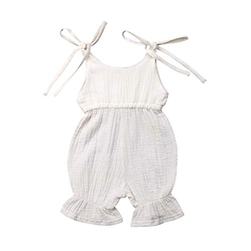 Yazidan Baby Sleeveless Strap Volltonfarbe Candy Farbe Siamese Spitze Klettern Jumpsuit Sommer Baby Jungen Mädchen Sommer Solid Body Strampler Overall Outfits Sun Suit