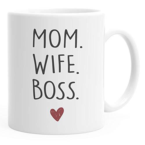 Moonworks® Kaffee-Tasse Mom Wife Boss Dad Husband Legend Geschenk Mama Papa Mom weiß Keramik-Tasse