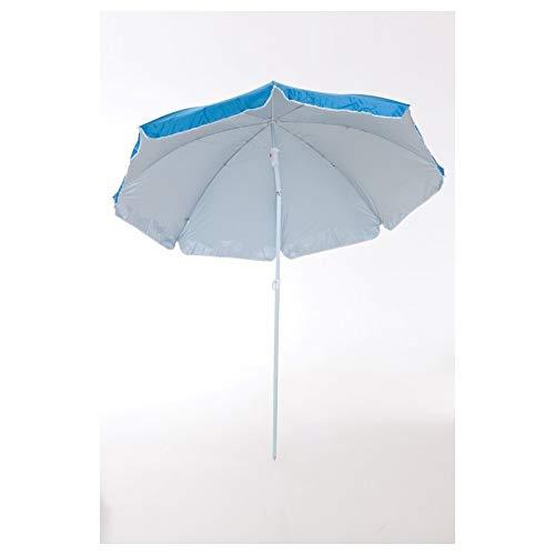 Sombrilla para Playa y Piscina Nylon Orientable Solar UV 8 Varillas Funda con Asa (200 cm, Azul)
