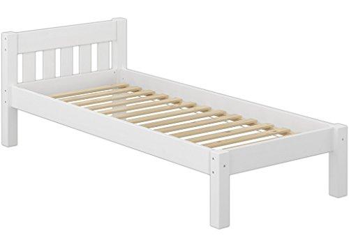 Erst-Holz 60.38-09 W Einzelbett mit Rollrost - 90x200 - Massivholz Weiß