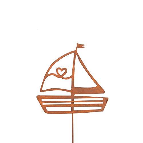 Gartendeko Gartenstecker aus Edelrost Metall Segelboot klein für Garten Terrasse oder Balkon