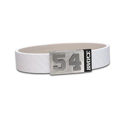 BRAYCE Pulsera de Cuero auténtico (Blanco) con tu número del 00 al 99: una Joya para Aficionados y Clubs (fútbol, Balonmano, Baloncesto, Hockey sobre Hielo)