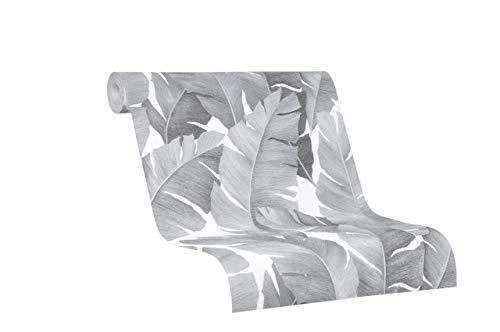 Tapete Schwarz Silber Natur Floral Blätter Pflanze Blatt Dschungel für Schlafzimmer Wohnzimmer oder Küche Made in Germany 10,05 x 053m Avalon 31624