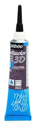 Pebeo Setacolor 3D Fabric Paint, 20ml, Glitter Violet by Pebeo