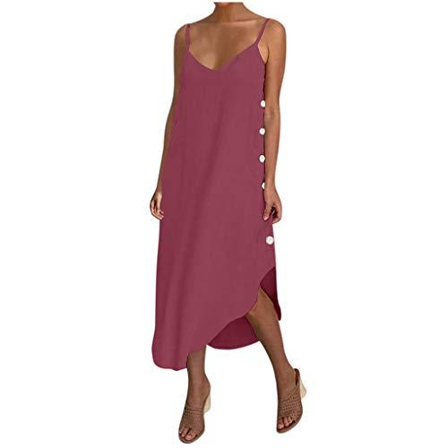 JUNLIN Blue Maxi Dress Womens Maxi Dresses for Summer Sleeveless Black Spaghetti Strap Dress Long Hot Pink Dress Plus Size Boho Dress (Wine-1 XX-Large)