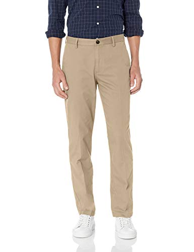 Amazon Essentials Men's Straight-Fit Wrinkle-Resistant Flat-Front Chino Pant, Khaki, 38W x 30L