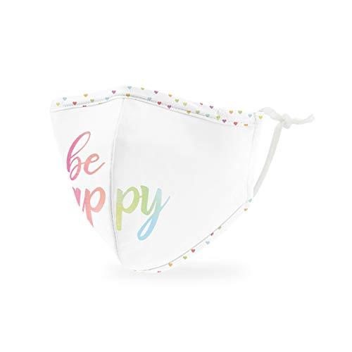 Weddingstar Maschera facciale in tessuto lavabile per bambini Copertura protettiva in tessuto riutilizzabile e regolabile con tasca per filtro antipolvere - Siate felici