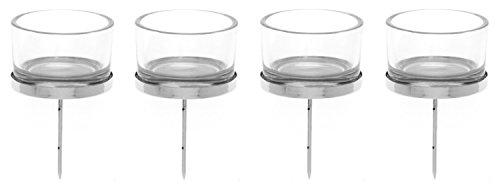 Glorex 6 7021 001 - Kerzenhalter silber, mit Teelichtglas, 4 Stück, ca. 4 x 9 cm groß, zur Gestaltung von Gestecken und Kränzen