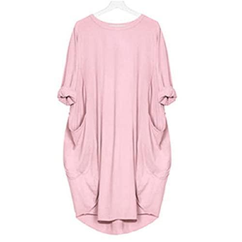 ZYSK Mujer Vestido Túnica de Gran Tamaño Mini Vestido Manga Corta Cuello Redondo Vestido Playeros con Bolsillo Suelto Largos Chic Elegante Color Sólido Vestido Falda Larga Maxi