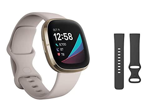 Fitbit Bundle enthält eineFitbit Sensefortschrittliche Gesundheits-Smartwatch mit Tools für Herzgesundheit sowie EINzusätzliches Armband