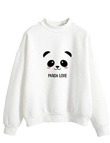 Pullover Teenager Mädchen, Damen Panda Drucken Langarm Pulli Brief Drucken Sweatshirt Langarmshirts Sweatjacke Oberteile Tops Shirts Hemd Bluse (Weiß, M)