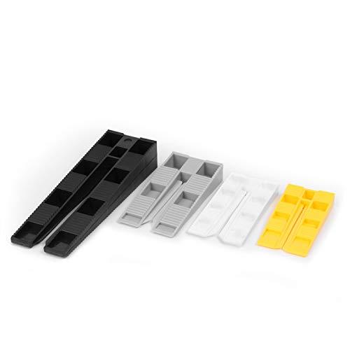 INNONEXXT® Premium Keile MIX mit Montagehilfe | 125 Stück | Made in Germany | Kunststoff Keile, Montagekeile, Distanzkeile aus Kunststoff | im Set: 40 x gelb, 40 x weiss, 40 x grau, 5 x schwarz