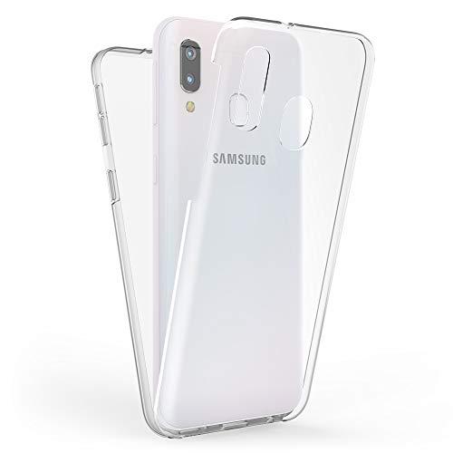 Kaliroo Handyhülle 360 Grad kompatibel mit Samsung Galaxy A40, Full-Body Schutzhülle Hardcase hinten & Displayschutz vorne mit Silikon Bumper, Slim Full-Cover Case Komplett-Schutz Hülle - Transparent