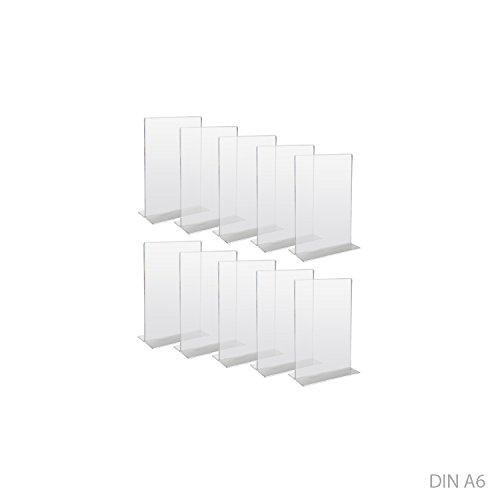HMF 46920 Acryl Tischaufsteller gerade   10 Stück   DIN A6 Hochformat   Glasklar