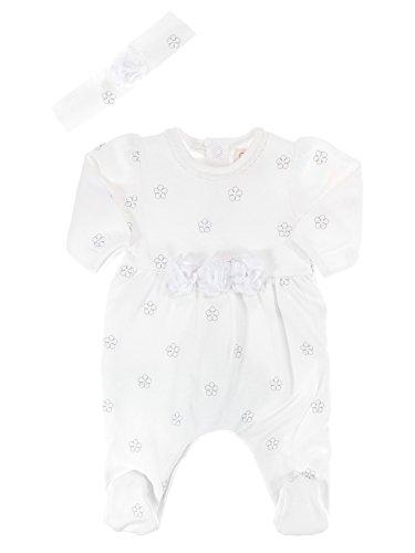 Emile et Rose festlicher Mädchen-Baby-Overall weiß mit Blumenapplikation und Blumenstickerei und mit Stirnband, Festmode für Taufe & Hochzeit, Gr. 56