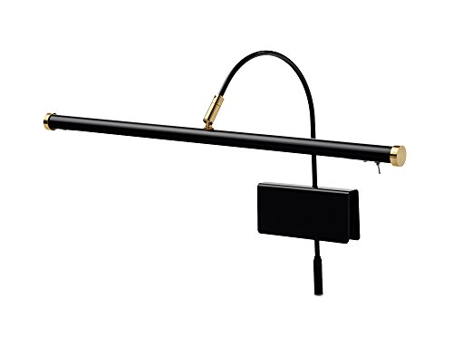 Cocoweb 19' Grand Piano Lamp - Adjustable, Black with Brass Accents, LED Clip-on with Dimmer - GPLED19D