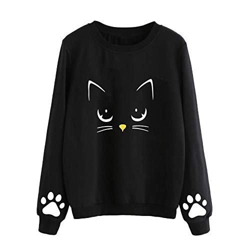 VJGOAL Mujeres Moda Casual Otoño e Invierno Lindo Gato impresión Suéter de Cuello Redondo de Manga Larga Color sólido Blusa Jersey(2XL,Negro