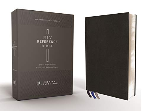 NIV, Reference Bible, Deluxe Single-Column, Premium Goatskin Leather, Black, Premier Collection, Comfort Print