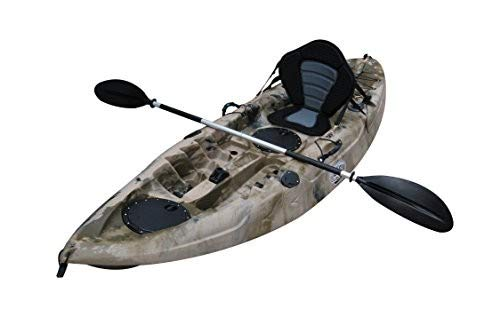 BKC UH-FK184 9'2' Sit on Top Single Fishing Kayak Seat and Paddle Included Green Camo