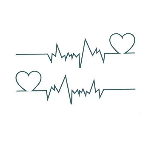 EROSPA® Tattoo-Bogen temporär / Sticker - EKG Herz-Frequenz - Wasserfest