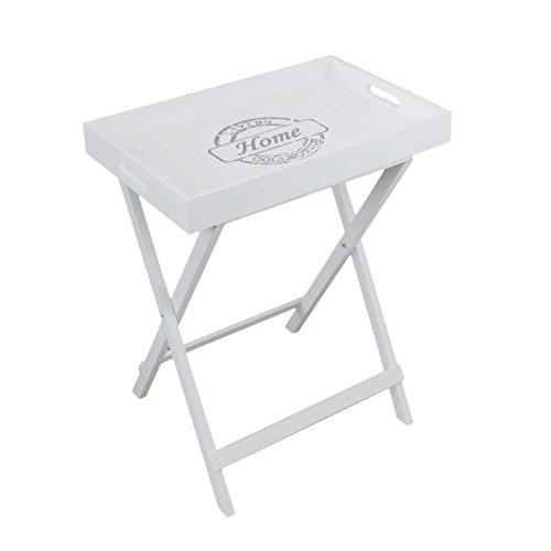 Wohaga Beistelltisch Serviertablett mit Gestell und abnehmbarem Tablett Holz Landhaus Stil Serviertisch Klapptisch Tablett-Tisch 49x32x60cm
