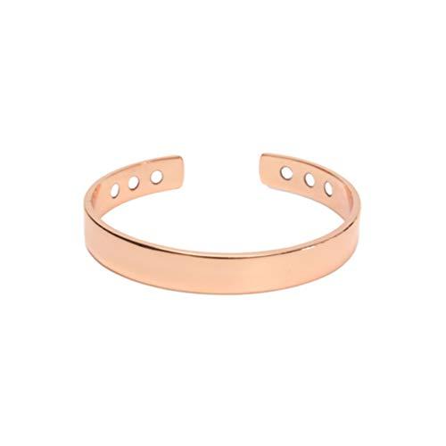 bracciale uomo rame Healifty Braccialetto Magnetico di Rame Braccialetto Sanitario Apertura Braccialetto Gioielli per Uomo Donna Artrite Antidolorifico (Oro Rosa)