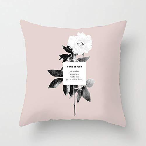 PPMP Funda de Almohada de Tiro de mármol Rosa Boss Lady Girl Power geométrica Flora Corbata Funda de cojín sofá de casa Funda de Almohada Decorativa A2 45x45cm 1pc