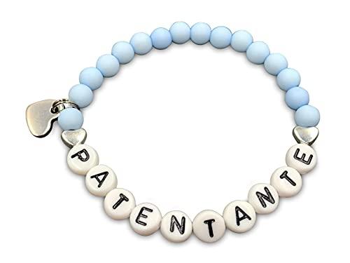 Armband Patentante hellblau Acrylperlen 6 mm - Geschenk Taufe und Frage Patenschaft - Farbe nach Wunsch - Edelsteine möglich - Größe 13 cm für Kinder bis 22 cm- personalisierbar
