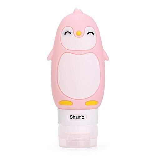 Kleine sprühflascheBadzubehör Seifenspender Multifunktions-Cartoon Tierform tragbare Reisekosmetik abgefüllt Squeeze Silikon-rosa Pinguin 90ml_China