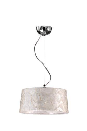 DekoArte Pendant, Lámparas De Techo Colgantes Decorativa E-27, Metal color Cromo, Pantalla Nácar Estilo Contemporáneo, A+