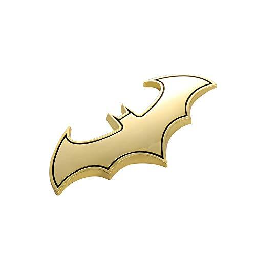 JinYe 3D Cool Metal bat auto Logo car Styling car Stickers Metal Batman Badge Emblem Tail Decal Motorcycle car Accessories (Gold)
