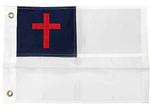 4 Less Co 12x18 Christian Flag Embroidered Nylon Boat Motorcycle Flag w/ Grommets