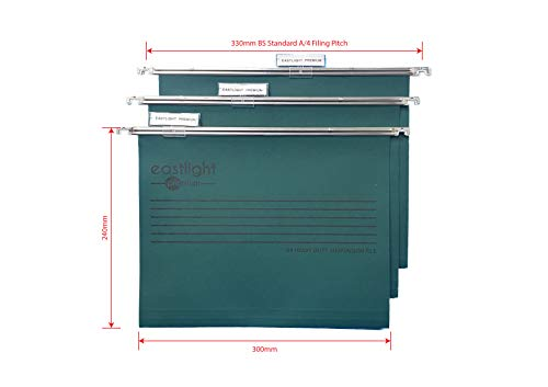 Eastlight Premium A4 Filing Cabinet Suspension Files with Tabs and Inserts [Pack 25 ] Made from 100% Recycled Manilla. Made in The UK, Width 330mm for A4 **Please Check Size Required **