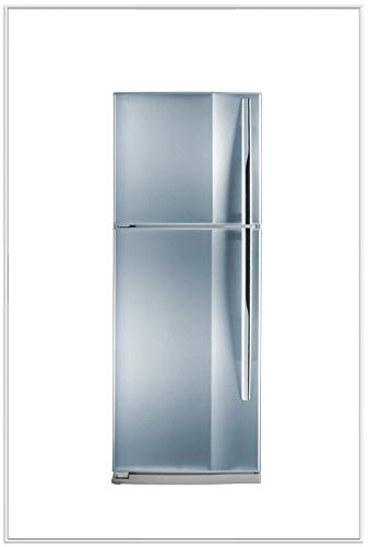 Wallario Wandbild Kühlschrank Edelstahl-Optik frontal bläulich-Silber glänzend in Premiumqualität mit weißem Rahmen, Größe: 61 x 91,5 cm