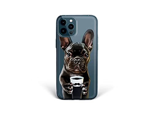 Bonito-Store iPhone Silicone Case 11 12 Pro Max 7 8 Plus 6 6S French Bulldog X XR XS SE 2020 Coffee Cup Compatible with Samsung Galaxy Cute Dog S21 Ultra S8 S9 Frenchie S20 FE Note 20 10 9 S10 Cover
