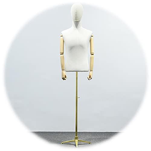 RZEMIN ZEMIN Maniquí de Costura, Medio Cuerpo Masculino Ajustable 135-215cm Trípode Sastres Maniquí para Exhibición de Ropa Forma de Vestido, Color Crema (Color : B)