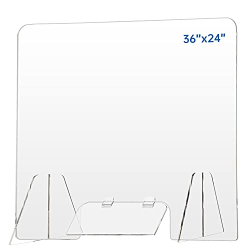 Sneeze Guard Shield for Counter - 36' x 24' Desk Plexiglass Shield with 10'W x 4'H Transaction Window Flap, Plastic Acrylic Barrier Clear Protection Sheet Barrier for Office, Reception, School