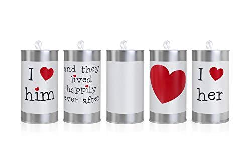 5 Stk Metalldosen für Hochzeitsauto Blechdosen Autocorso Lärmdosen rot weiß Dosen Krach Feier Wedding Cans