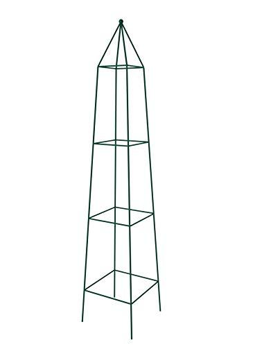 KADAX Rankhilfe, Rankobelisk aus Stahl, freistehend, Obelisk, Rankturm für Garten, Kletterpflanzen, Rosen, Pyramide, Ranksäule, Rankgestell, wetterfest, Deko, grün (32 x 150 cm)